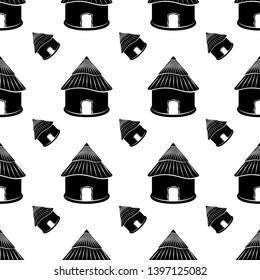 Hut Icon Seamless Pattern, Village Hut Icon Vector Art Illustration