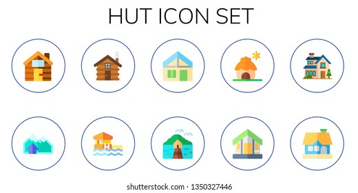 hut icon set. 10 flat hut icons.  Simple modern icons about  - cabin, chalet, bungalow, villa, cottage