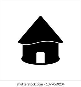 Hut Icon, Village Hut Icon Vector Art Illustration