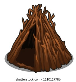 A hut made of dry branches of trees isolated on white background. Vector cartoon close-up illustration.