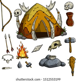 Hut of primitive prehistoric caveman from bones. Stone axe, hammer, bow, arrow, fire, skull. Set of weapons and tools for hunting and lifestyle. Cartoon sketch illustration