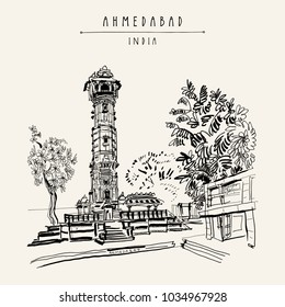 Hutheesing (Hathi Singh Wadi) Jain temple in Ahmedabad, Gujarat, India. Ornate tower and trees. Travel sketch art. Vintage hand drawn postcard in vector