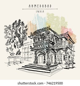Hutheesing (Hathi Singh Wadi) Jain temple in Ahmedabad, Gujarat, India. Travel sketch art. Vintage hand drawn postcard in vector