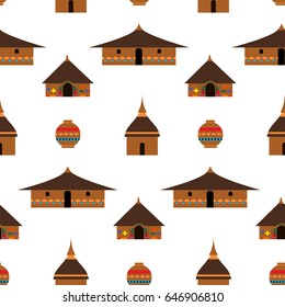 Huts in Africa. Vector flat illustration  huts and.Ethnic architecture.Ethnic Huts. jug. Idea for design. Print on fabric. Stylized image of African houses.  Abstract illustration of african motifs.