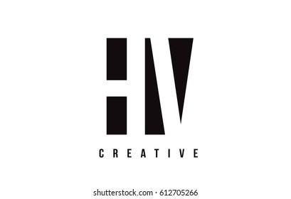 HV H V White Letter Logo Design with Black Square Vector Illustration Template.