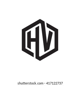 HV initial letters looping linked hexagon monogram logo