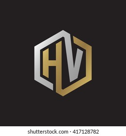 HV initial letters looping linked hexagon elegant logo golden silver black background