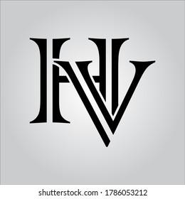 HV letter logo with white background.The nice black letter logo.