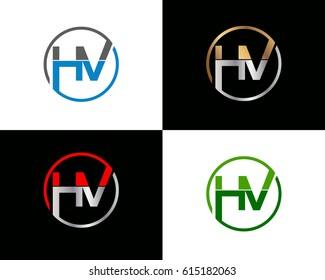 Hv letter vector logo design