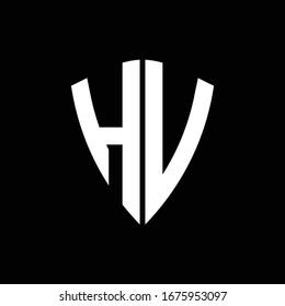 HV logo monogram with shield shape design template