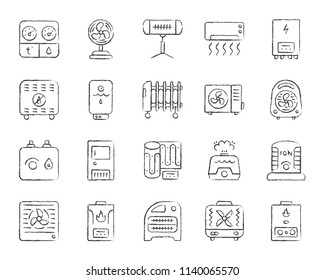 Hvac charcoal icons set. Grunge outline sign kit of climatic equipment. Fan linear icon pack includes steam generator, air dryer, purifier. Hand drawn simple hvac symbol isolated Vector Illustration