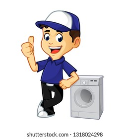 Hvac Cleaner or technician leaning on washing machine cartoon illustration, can be download in vector format for unlimited image size