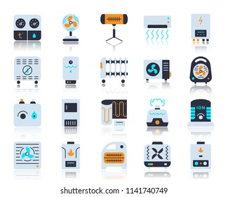 Hvac flat icons set. Vector sign kit of climatic equipment. Fan pictogram collection includes steam generator, air dryer, purifier. Simple hvac cartoon icon symbol with reflection isolated on white