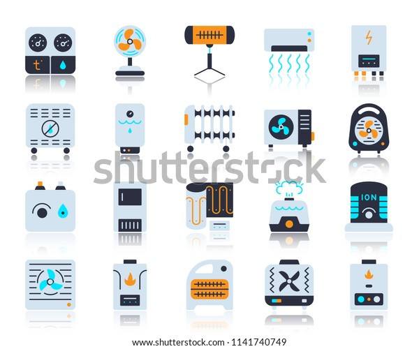 Hvac Flat Icons Set Vector Sign Stock Vector (Royalty Free