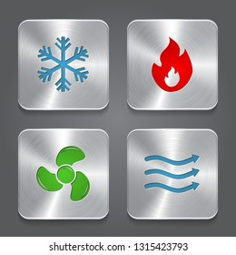 HVAC (heating, ventilating, and air conditioning) Icons. Heating and Cooling technology. Metal button icon. Vector