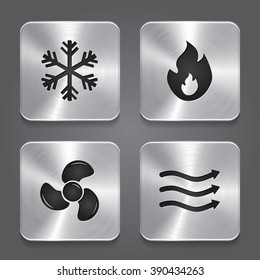 HVAC (heating, ventilating, and air conditioning) Icons. Heating and Cooling technology. Metal button icon.