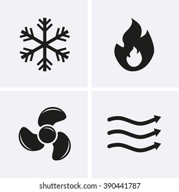 HVAC (heating, ventilating, and air conditioning) Icons. Heating and Cooling technology.