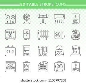 Hvac thin line icons set. Outline web sign kit of climatic equipment. Fan linear icon collection includes infrared heater, conditioner, ionizer. Editable stroke without fill. Hvac simple vector symbol