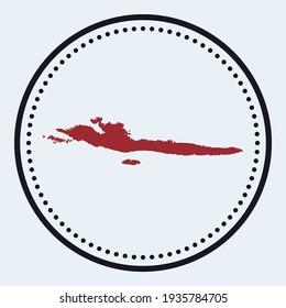 Hvar  Dalmatian Islands round stamp. Round logo with island map and title. Stylish minimal Hvar  Dalmatian Islands badge with map. Vector illustration.