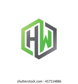 HW initial letters looping linked hexagon logo black gray green