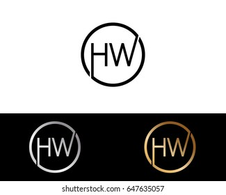 HW Logo. Letter Design Vector with Red and Black Gold Silver Colors