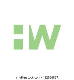 HW Logo. Vector Graphic Branding Letter Element. White Background