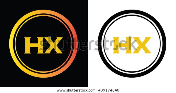 HX letters icon design template elements in abstract background logo, design identity in circle, alphabet letter