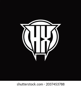 HX Logo monogram with circle rounded shape design template on black background