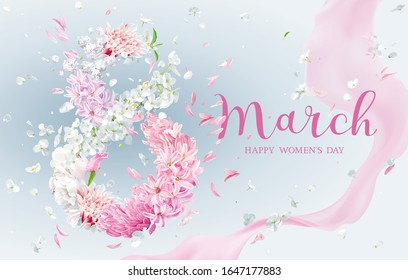 Hyacinth flower, Apple blossom, Chrysanthemum, Peony in the form of numeral  8 with flying petals and silk ribbon. Floral vector greeting card for 8 March in watercolor style with lettering design