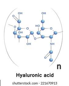 Hyaluronic acid  chemical formula, molecule structure, medical vector illustration.