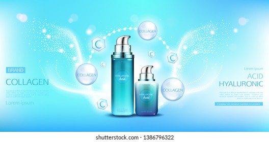 Hyaluronic acid collagen cosmetics packages mock up. Beauty moisturize skin cosmetic products bottles on blue background with molecules and space for name brand, promo Realistic 3d vector illustration