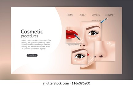 Hyaluronic acid facial injection, vector web  template. Beauty, cosmetology, anti-aging concept. Female rejuvenating mesotherapy injection against wrinkles
