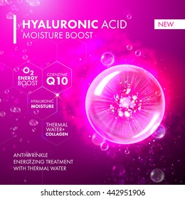 Hyaluronic Acid Moisture Boost. O2 collagen water molecule pink bubble drop. Skin care marine oxygen formula treatment design. Coenzyme anti wrinkle thermal water solution.