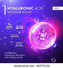 Hyaluronic Acid Moisture Energy Boost. Coenzyme Q10 moisturizing collagen design. Oxygen Underwater bubble for skin care concept.