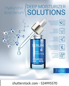 Hyaluronic Acid Moisturizing Serum ads. Vector Illustration with Serum container.