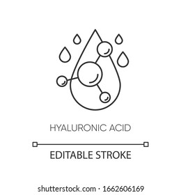 Hyaluronic acid pixel perfect linear icon. Hydrating formula. Collagen to prevent wrinkles. Thin line customizable illustration. Contour symbol. Vector isolated outline drawing. Editable stroke