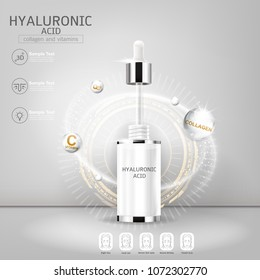 Hyaluronic Acid Serum Collagen and Vitamin Vector Background Concept Skin Care Cosmetic Product.