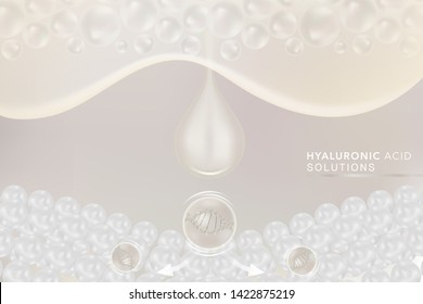 Hyaluronic acid skin solutions ad, white collagen serum drop with cosmetic advertising background ready to use, illustration vector.