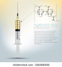 Hyaluronic acid in syringe. Chemical formula, molecule structure, medical vector illustration.