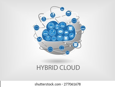 Hybrid cloud computing vector icon symbol. Blue and grey globe with blurred background.