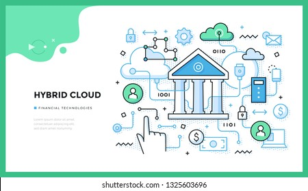 Hybrid cloud illustration. Integrated cloud service for data processing and storing. Concept of trending financial technologies for web banners, hero images or printed materials
