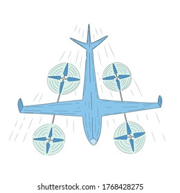Hybrid Vertical Take-Off and Landing Drone Flying with Speed. Isolated Drone Highly Used by Military, Surveillance, Reconnaissance and other Purposes. Hand Drawn Vector Illustration.