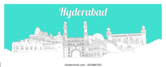 HYDERABAD city hand drawing panoramic sketch illustration