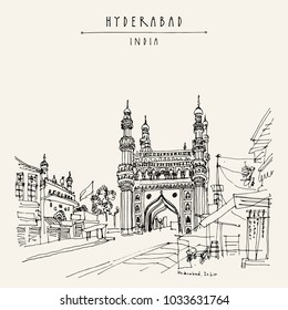 Hyderabad, Telangana state, India. Charminar - famous historical mosque. Travel sketch. Vintage hand drawn Ramadan Kareem or Idul Fitri celebration postcard or poster. Vector book illustration