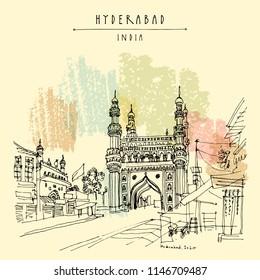 Hyderabad, Telangana state, India. Charminar - famous historical mosque. Travel sketch. Vintage hand drawn Ramadan Kareem or Idul Fitri celebration postcard or poster. Vector book illustration