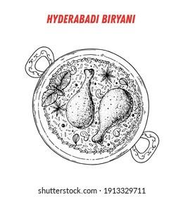 Hyderabadi Biryani sketch, Indian food. Hand drawn vector illustration. Sketch style. Top view. Vintage vector illustration.
