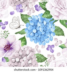 Hydrangea flowers, petals and leaves in watercolor style on white background. Seamless pattern for textile, wrapping paper, package, Art vector illustration.