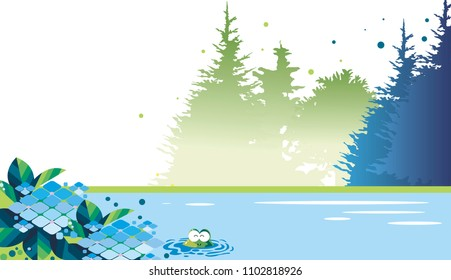 Hydrangea, frog and forest landscape
