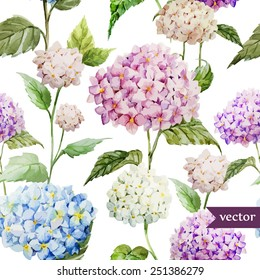 hydrangea, pattern, watercolor,