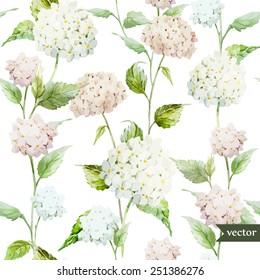 hydrangea, pattern, watercolor, background